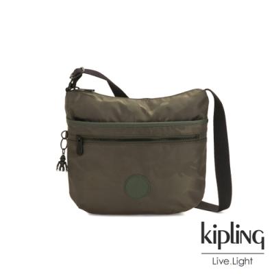Kipling 迷彩緞灰前拉鍊側背包-ARTO