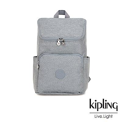 Kipling 極簡風淺灰丹寧拉鍊掀蓋後背包-大-BLAKENEY