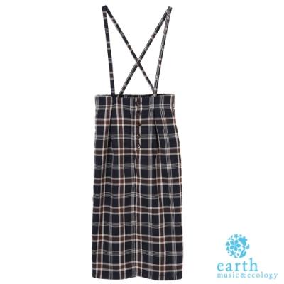 earth music 格紋排釦可拆式吊帶窄身裙