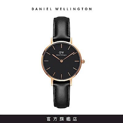 DW 手錶 官方旗艦店 28mm玫瑰金框 Classic Petite 爵士黑真皮皮革
