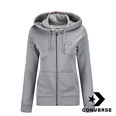 CONVERSE-女休閒連帽外套-灰-10004493-A02