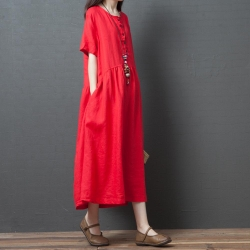 柔軟明亮純色清新洋裝M-2XL(共三色)Keer