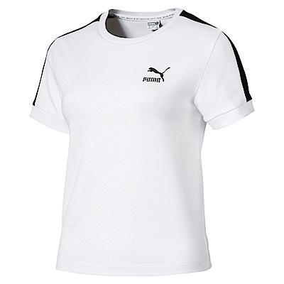 PUMA-女性流行系列經典T7貼身短袖T恤-白色-歐規