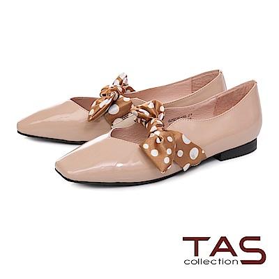 TAS 復古圓點緞布繫帶漆皮平底娃娃鞋–豆沙粉