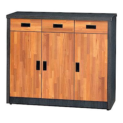 綠活居 邁比瑞時尚4尺雙色三門鞋櫃/玄關櫃-119x39x121cm-免組