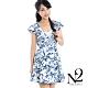 洋裝 南洋印花深V顯瘦剪裁短版洋裝 (藍色) N2 product thumbnail 1