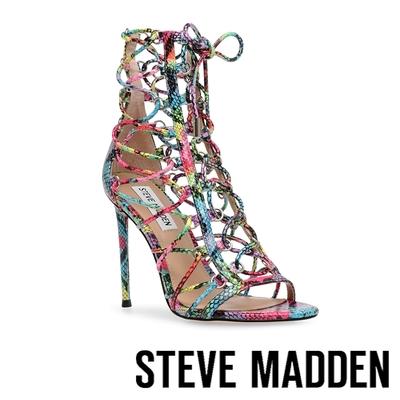 STEVE MADDEN-GEORDIE 蛇皮印花簍空綁帶高跟鞋-彩虹