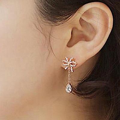 梨花HaNA 無耳洞韓國妳的禮物皓晶綴水滴垂綴式耳環-玫瑰金
