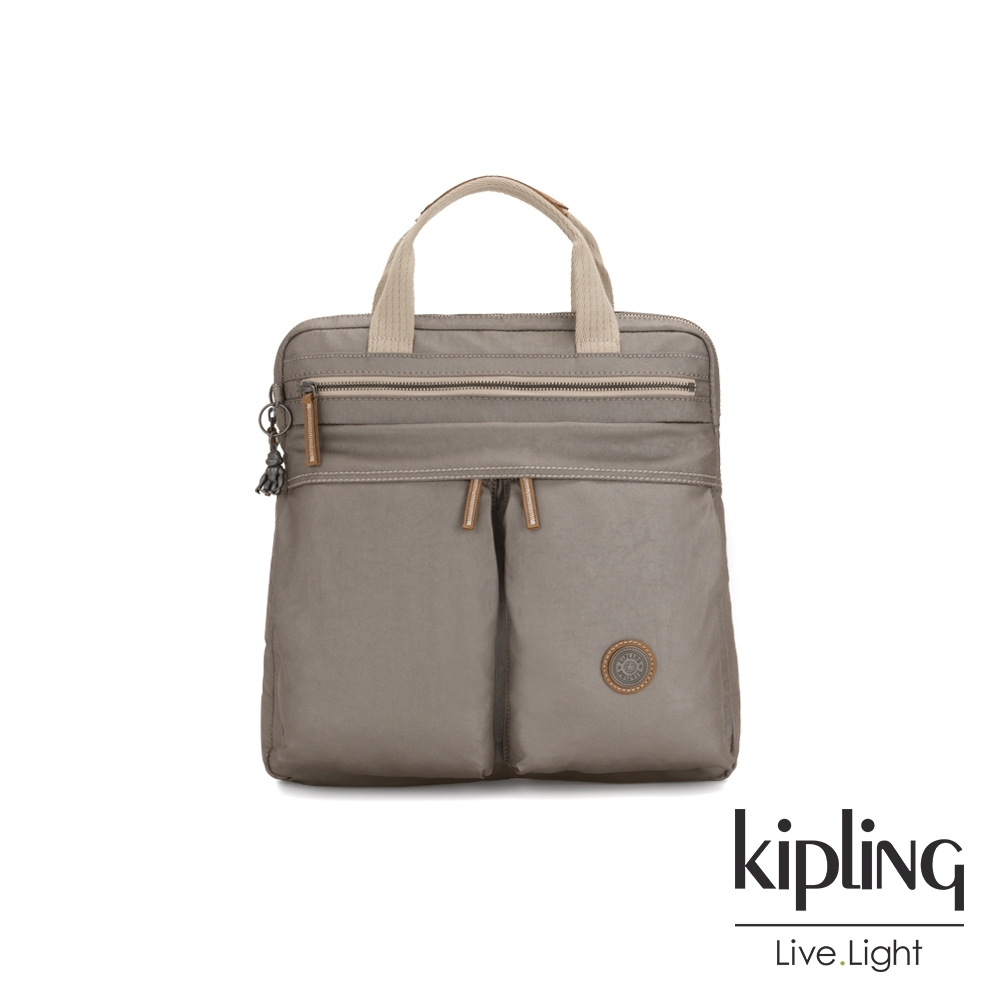 Kipling 邊緣地帶質感霧金拉鍊手提後背兩用包-KOMORI S-EDGELAND系列