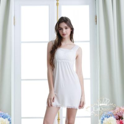 內衣 氣質蕾絲透氣蠶絲長版背心裙-白 La Queen