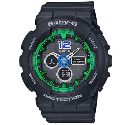 BABY-G 繽紛城市愛旅行女孩休閒運動錶(BA-120-1B)-黑/43.4mm