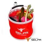韓國SELPA 收納大容量可摺疊多用途水桶 紅 裝水 釣魚 露營 洗車
