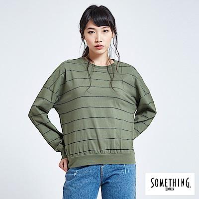 SOMETHING 亞維儂 百搭條紋寬版長袖T恤-女-綠色
