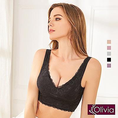 Olivia 無鋼圈全蕾絲後交叉美背舒適內衣-黑色