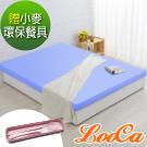 (贈環保餐具)LooCa 美國Microban抗菌12cm記憶床墊(藍)-雙人