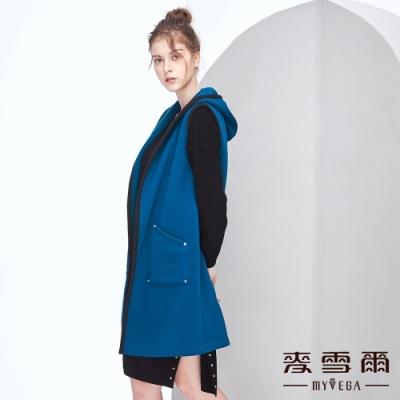 【麥雪爾】花紗跳色滾邊雙口袋長版背心-藍