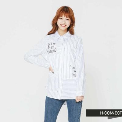 H:CONNECT 韓國品牌 女裝 - 條紋拼接文字襯衫-紫(快)