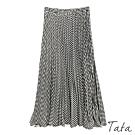 千鳥格壓褶半身裙 TATA-F