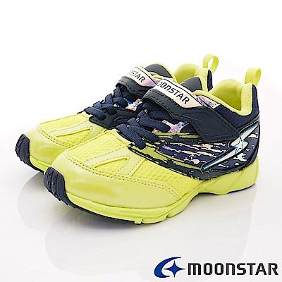 日本月星頂級競速童鞋 2E勝戰獸運動系列 EI675深藍黃(中大童段)