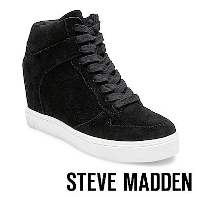 STEVE MADDEN-NOAH 內增高真皮綁帶休閒靴-黑色