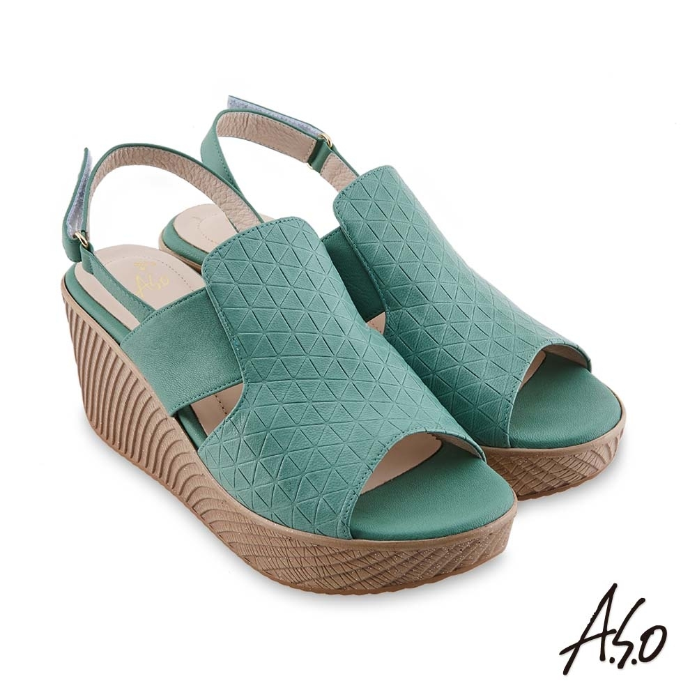 A.S.O 時尚流行 亮眼魅力飽和亮彩風格厚底涼鞋-綠