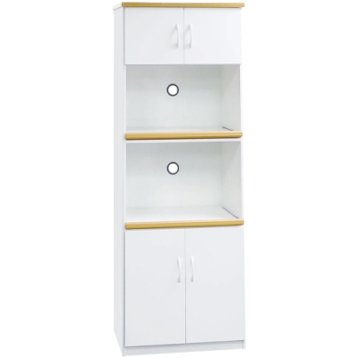 文創集 森活環保白2.2尺塑鋼四門二格高餐櫃/收納櫃-66x43x180cm免組