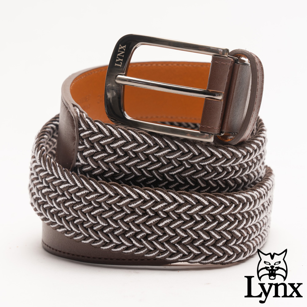 Lynx - 美國山貓典雅撞色彈性編織真皮穿針式皮帶