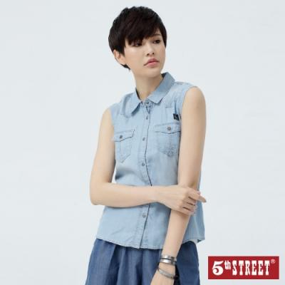 5th STREET 天絲棉無袖 牛仔襯衫-女-漂淺藍