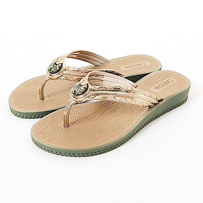 GRENDHA 瑪瑙石華麗人字帶夾腳鞋-橄欖綠