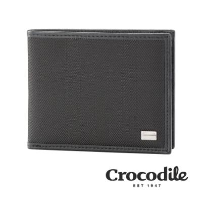 Crocodile 鱷魚皮件 Snapper布配皮系列 12卡 活動式2窗格 真皮皮夾 男夾 0103-10003-01 黑色