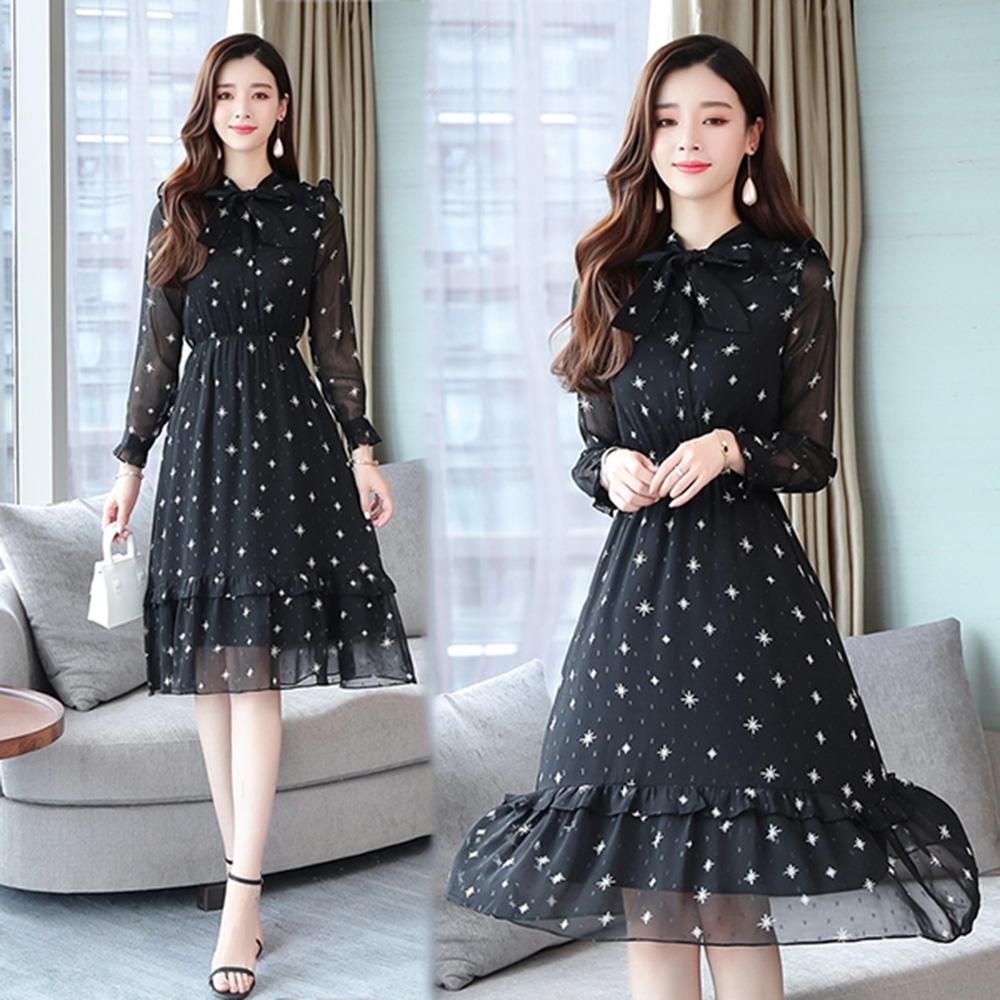 【韓國K.W.】賣瘋了學院精選甜美氣質星星印花洋裝