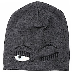 Chiara Ferragni Beanie Flirting 深灰色眨眼美麗諾羊毛針織帽