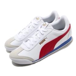 Puma 休閒鞋 Turino 復古 運動 男女鞋 基本款 皮革 簡約 情侶穿搭 舒適 白 紅 37111309