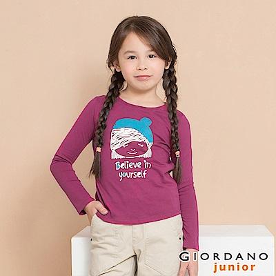 GIORDANO 童裝純棉長袖女孩風印花T恤-13 覆盆莓紫