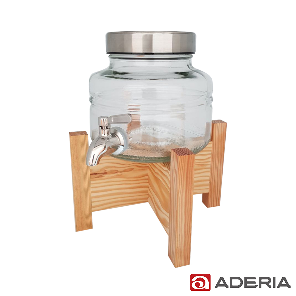 ADERIA 日本進口時尚飲料桶 2L (不鏽鋼水龍頭附原木架)