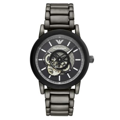 EMPORIO ARMANI 時光齒輪機械腕錶-鐵灰(AR60010)/42mm