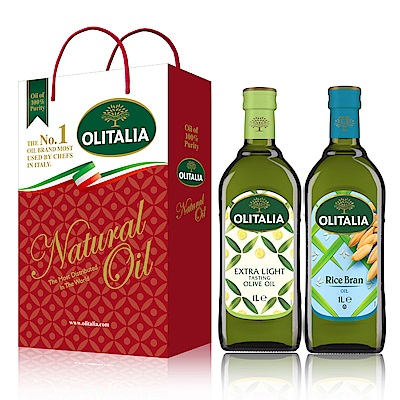 Olitalia奧利塔精製橄欖油+玄米油禮盒組(1000mlx2瓶)