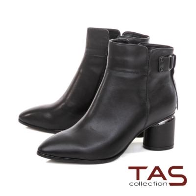 TAS後流蘇綁帶牛皮拉鍊短靴-女神黑