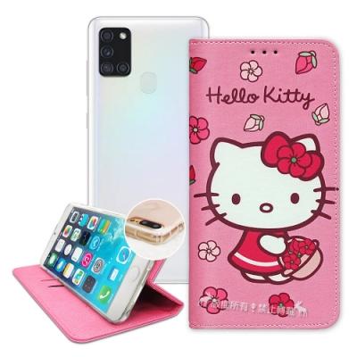三麗鷗授權 Hello Kitty 三星 Samsung Galaxy A21s 櫻花吊繩款彩繪側掀皮套