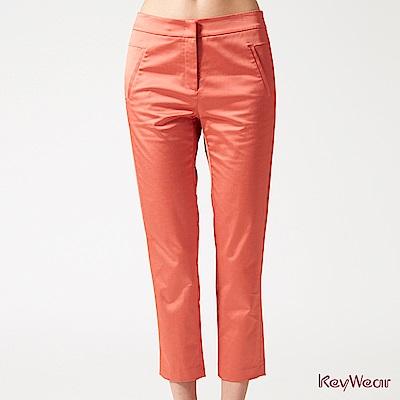 KeyWear奇威名品    典雅光澤時尚商務九分褲-橘紅色