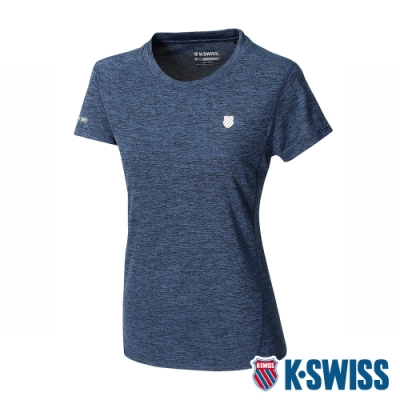 K-SWISS Small Neon Logo Tee排汗T恤-女-藍