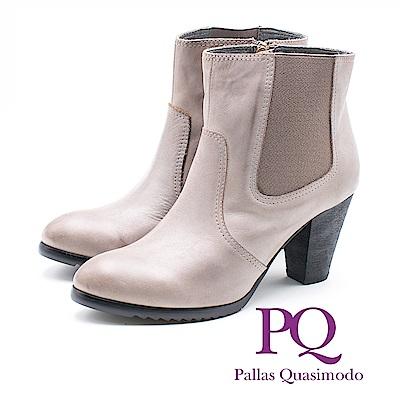 PQ 真皮U型鬆緊帶高跟短靴 女靴 - 灰