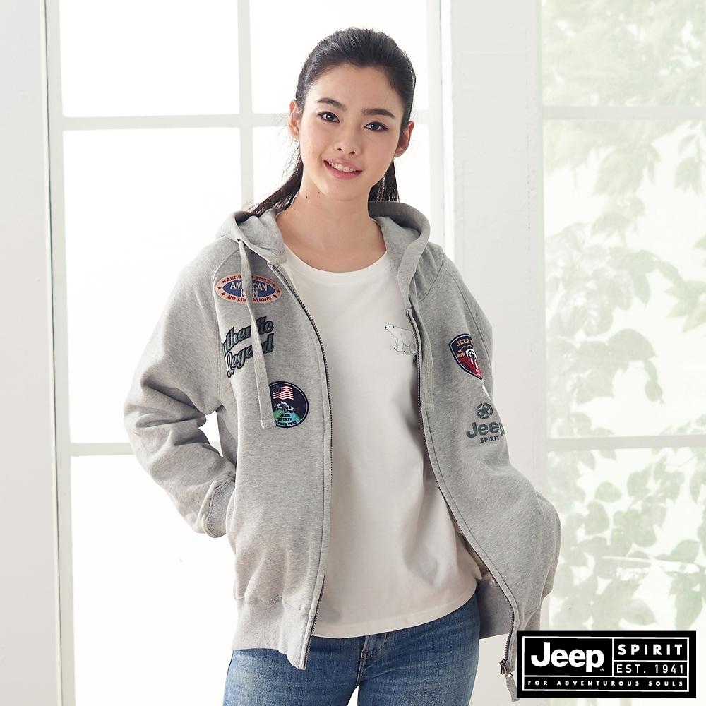 Jeep 女裝 休閒長版連帽外套-淺灰色