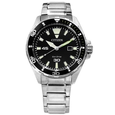 CITIZEN 光動能 礦石強化玻璃 日本機芯 防水100米 不鏽鋼手錶-黑色/44mm