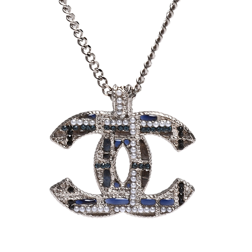 CHANEL 經典雙C LOGO水鑽琉璃珠鑲嵌編織造型項鍊(銀)