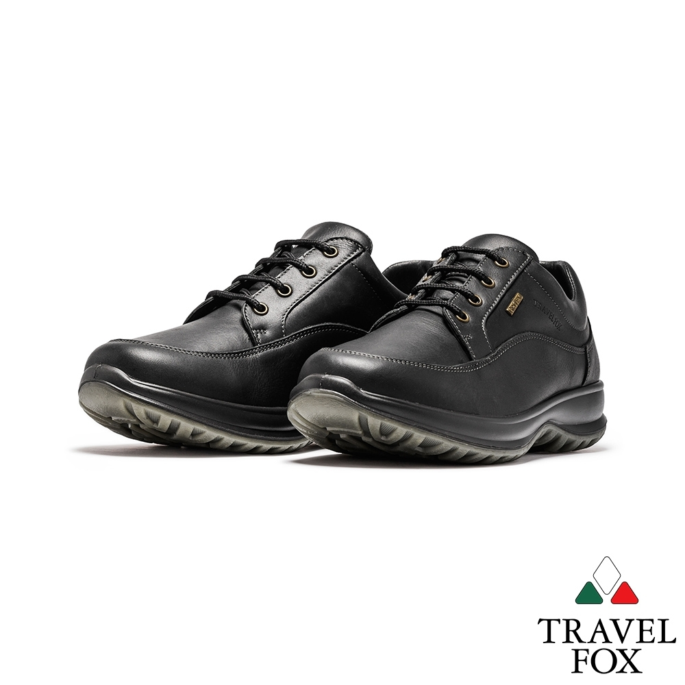 TRAVEL FOX(男) 采風全牛皮防水設計紳士減壓休閒鞋-黑