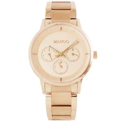 MANGO 簡約質感三眼時尚手錶-玫瑰金/36mm