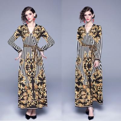 【KEITH-WILL】幸福甜氛幾何條紋修身洋裝-1色