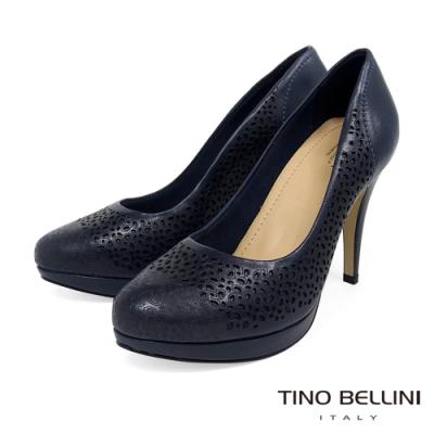 Tino Bellini巴西進口牛皮簍空雕花厚底高跟鞋_藍