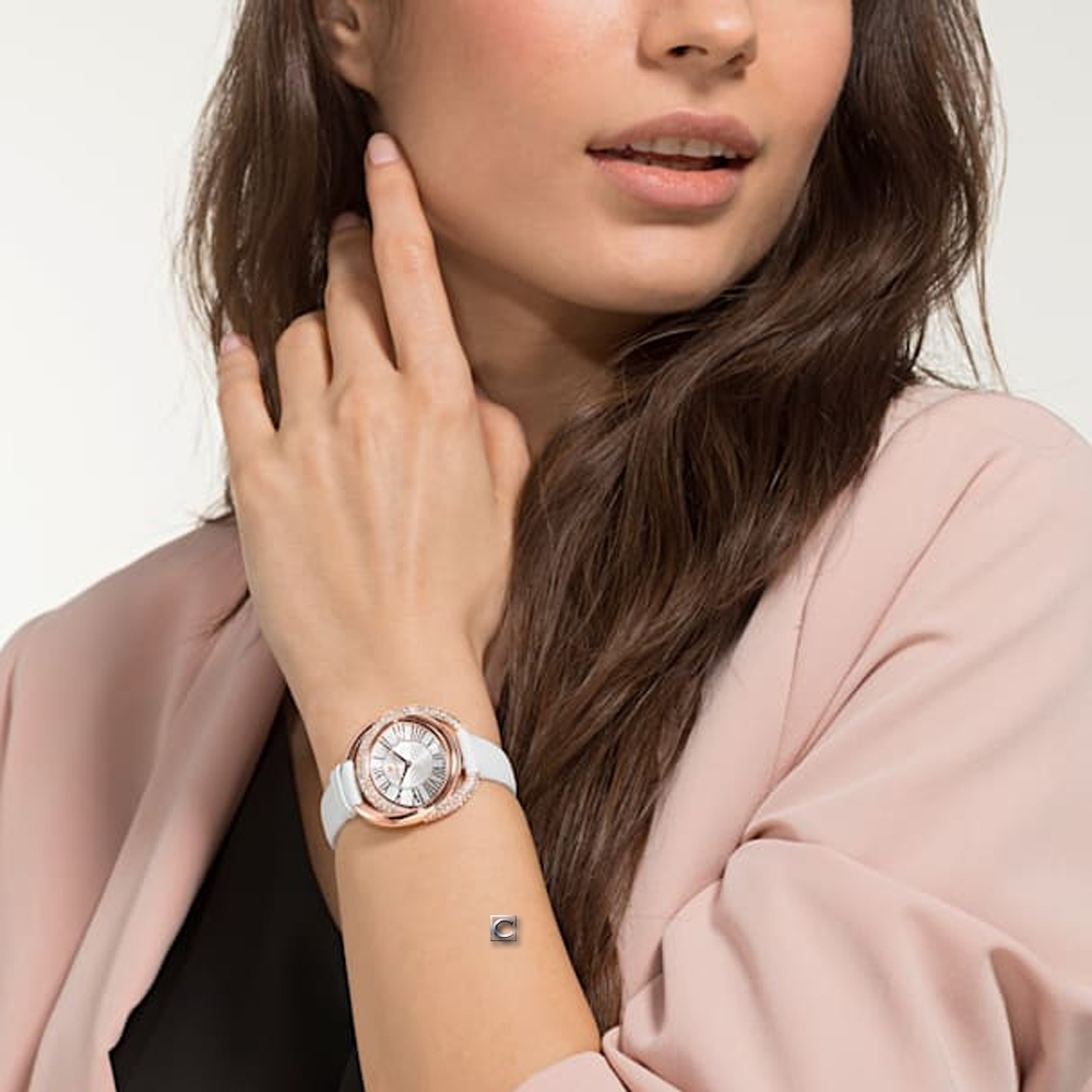 SWAROVSKI施華洛世奇The Duo永恆交環時尚錶(5484382)-白